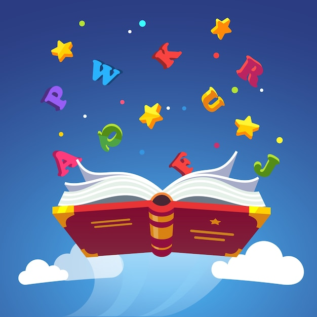 Magical book flying scattering alphabet letters Free Vector