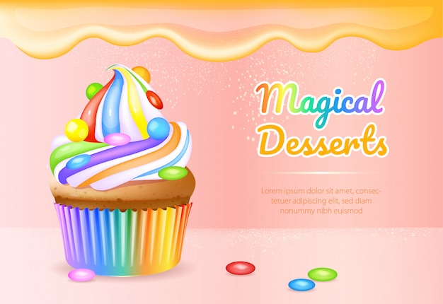 Magical desserts realistic product ads banner template Premium Vector