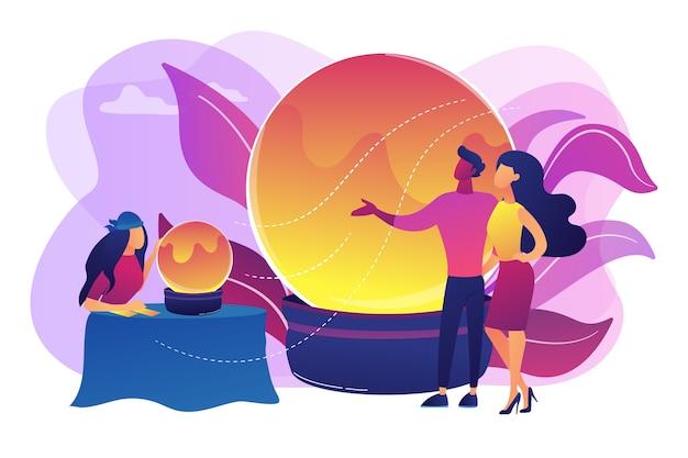 Магическое гадание и картомантия. цыганский прорицатель, пророк с клиентами. гадание, гадалка онлайн, концепция услуг чтения таро. яркие яркие фиолетовые изолированные иллюстрации Бесплатные векторы