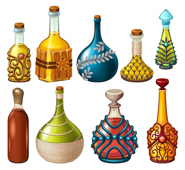 Magical drinks, poisons and elixirs. Premium Vector