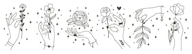 마법의 손에 꽃을 들고. 미니멀리스트 손과 꽃, 추상 손으로 그린 꽃. 프리미엄 벡터