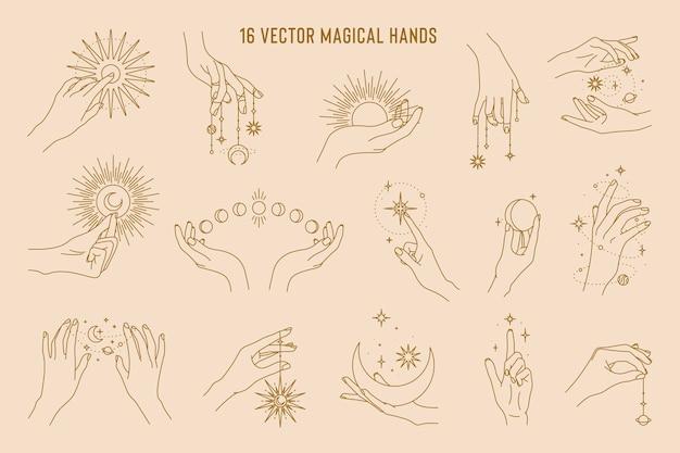 Magical hands set of linear logo template Premium Vector