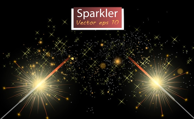 Magical light. sparkler. candle sparkling on the background. realistic vector light effect. winter, seasonal christmas decoration illustration. Premium Vector