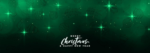 Magical merru christmas stars banner in green color Free Vector