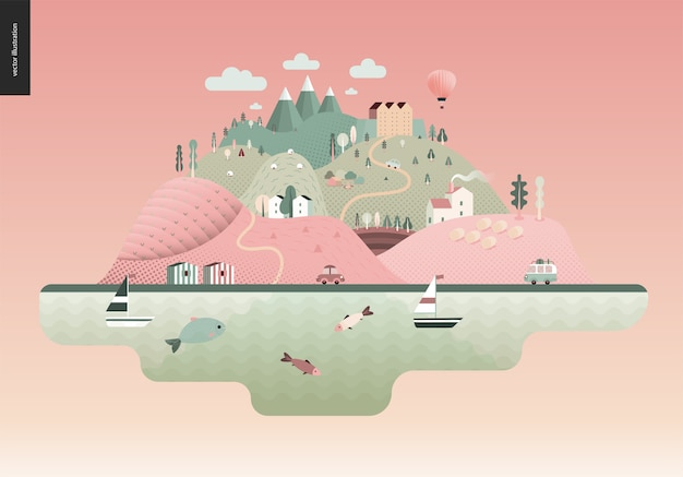 Magical summer landscape Premium Vector