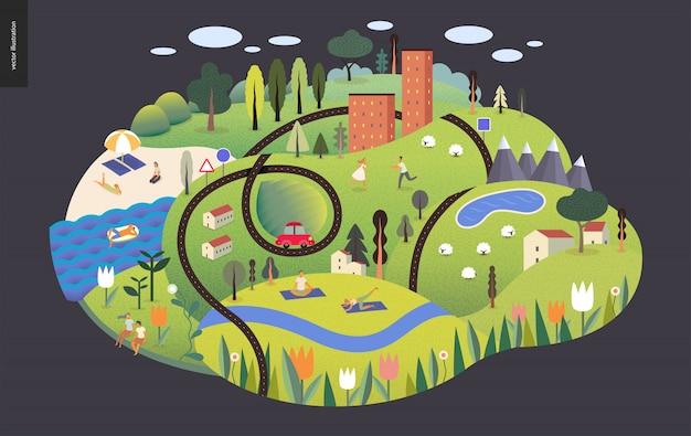 Magical summer landscape Premium Vector