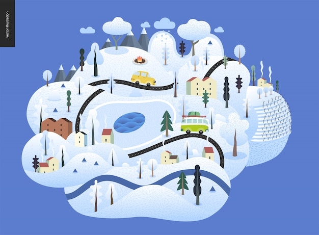 Magical winter landscape Premium Vector