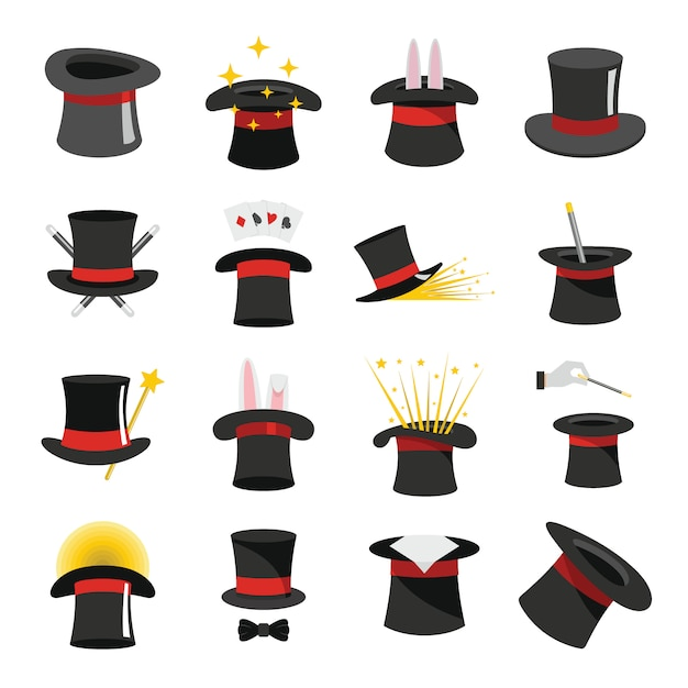 Magician hat sorcery icons set Premium Vector