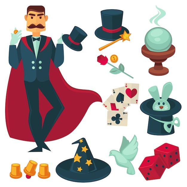 Magician holding golden coin. vector illustration. Premium Vector