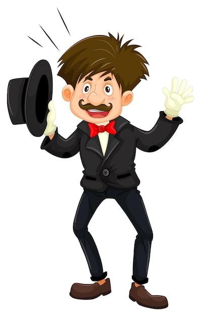 Magician in black tuxedo Free Vector