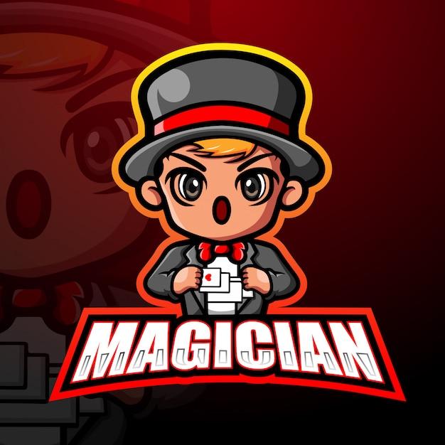 マジシャンマスコットeスポーツイラスト Premiumベクター