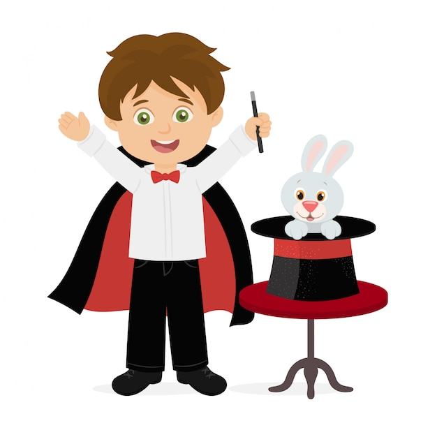Magician pulling out a rabbit from his top hat Premium Vector