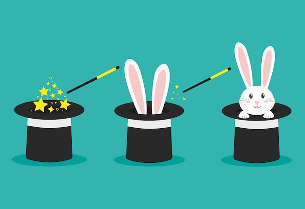 Magician's black hat, magic hat with bunny ears. vector flat illustration in cartoon style. Premium Vector
