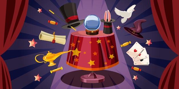 Magician table background horizontal, cartoon style Premium Vector