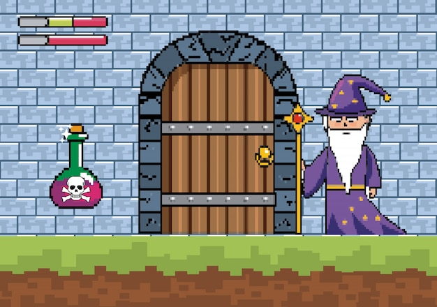 Magician with magic wand and danger potion in the castle door Free Vector