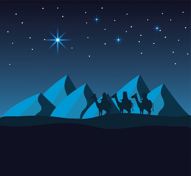 Magicians kings ride camels in the desert with mountains Premium Vector