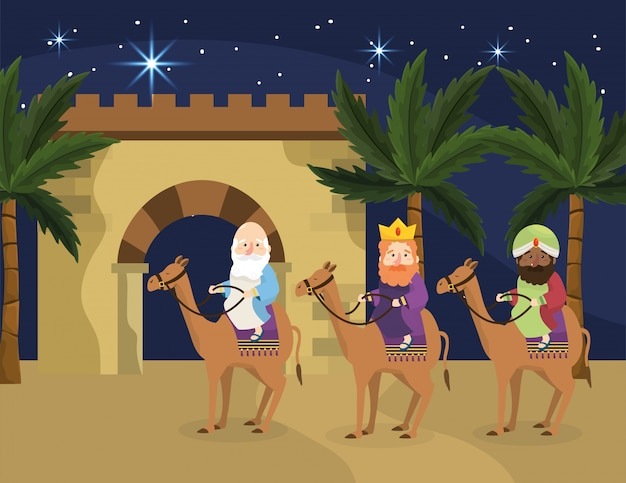 Magicians kings ride camels with palm trees Premium Vector