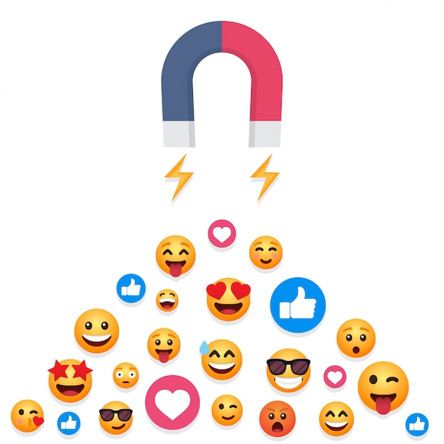 Magnet attracts emoticons, likes Premium Vector