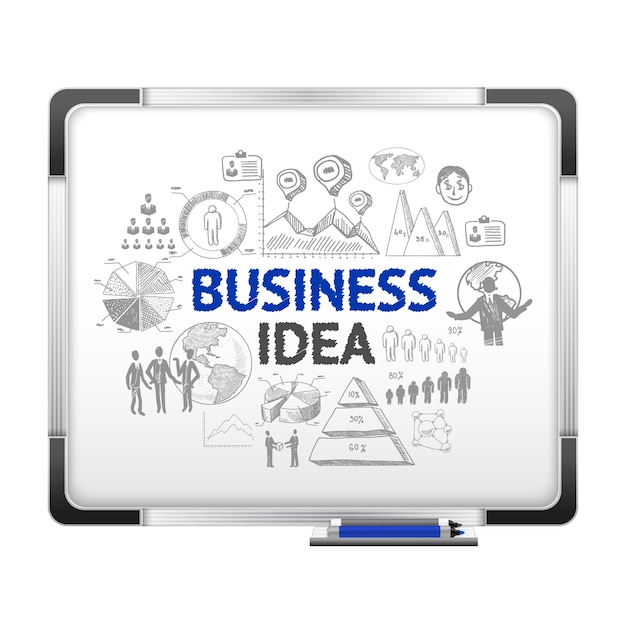 magnet board with business ideas sketch vector free download