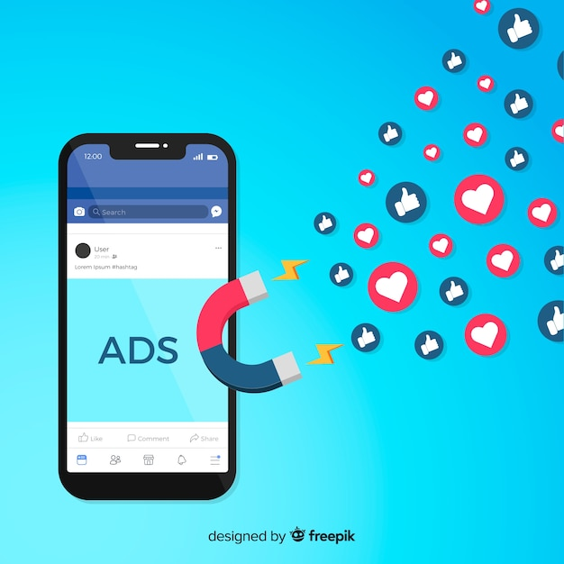 Magnet facebook ads background Premium Vector