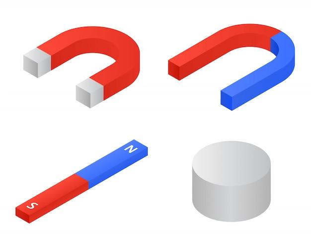 Magnet icons set, isometric style Premium Vector