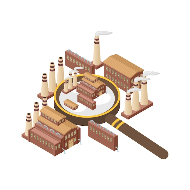 Magnifier with power energy plant, nuclear, heating gas production isolated. zooming industrial exterior vector illustration. magnifying glass and industry. Premium Vector