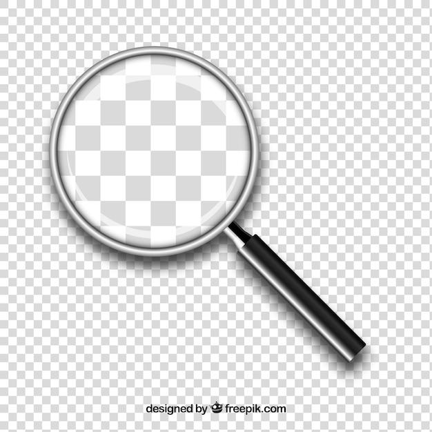 Lente d'ingrandimento sullo sfondo in stile realistico Vettore gratuito