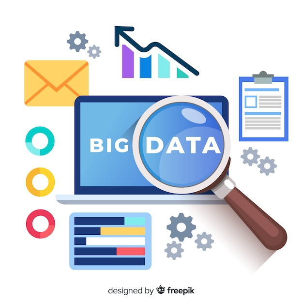 Magnifying glass big data background Free Vector