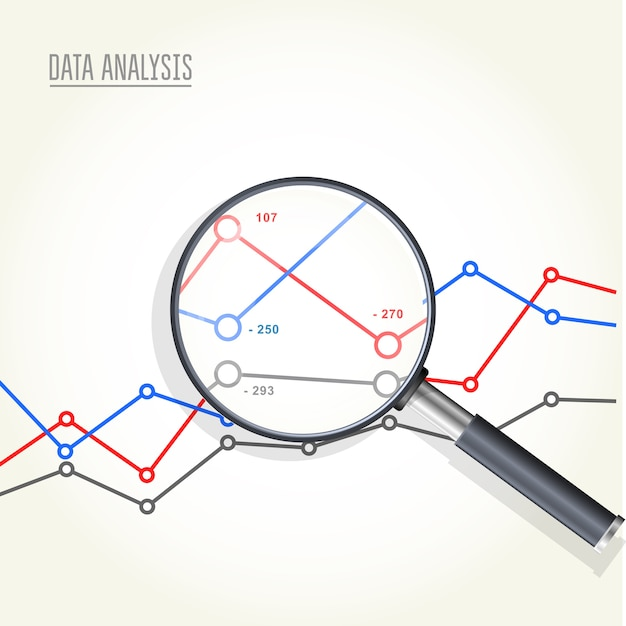 Magnifying glass over charts - data statisics research, stock market analytics Premium Vector