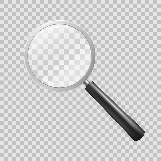 Magnifying glass on checkered background Free Vector