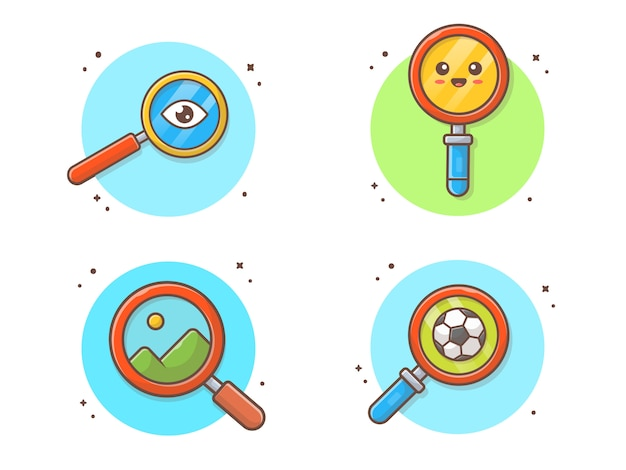 Magnifying glass collection icon illustration Premium Vector
