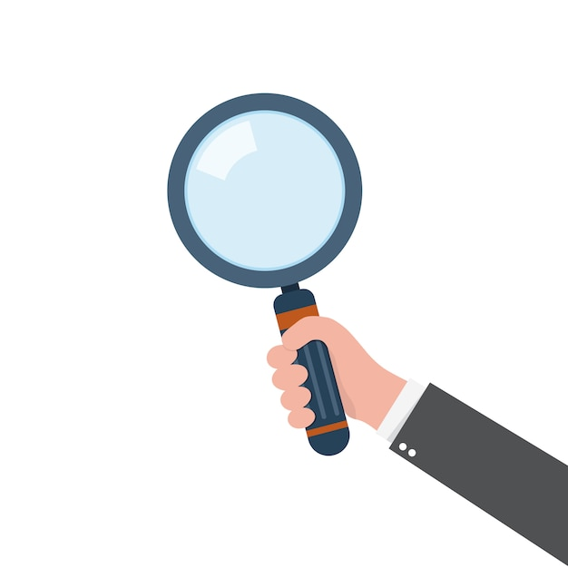 Magnifying glass in the hand.  illustration. Premium Vector