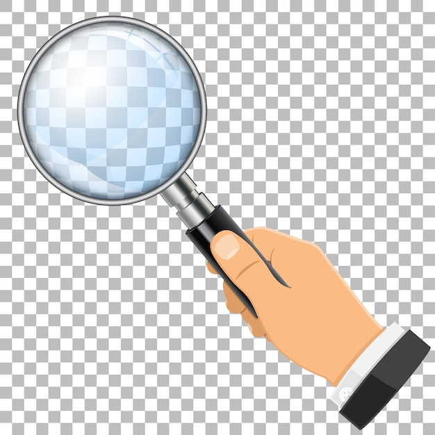 Magnifying glass in hand Premium Vector