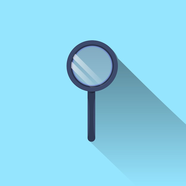Magnifying glass icon with long shadow on blue background Premium Vector