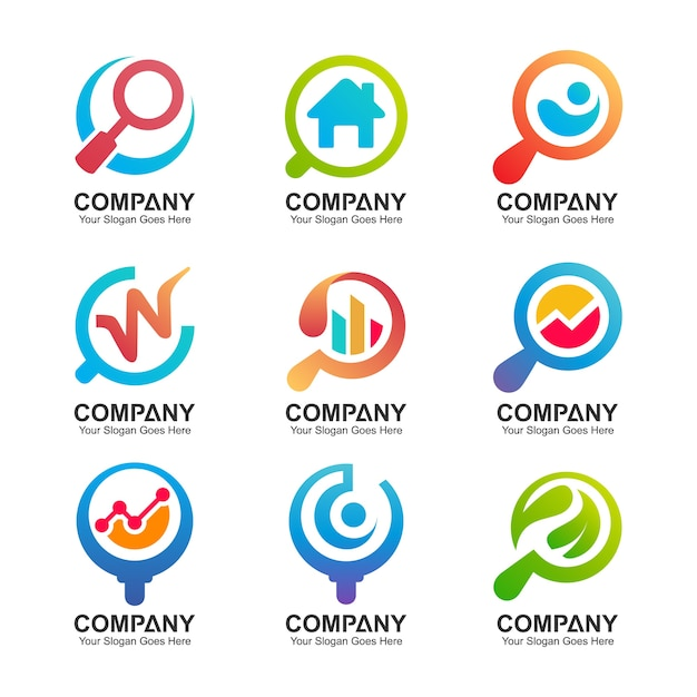 Magnifying glass logo collection Premium Vector