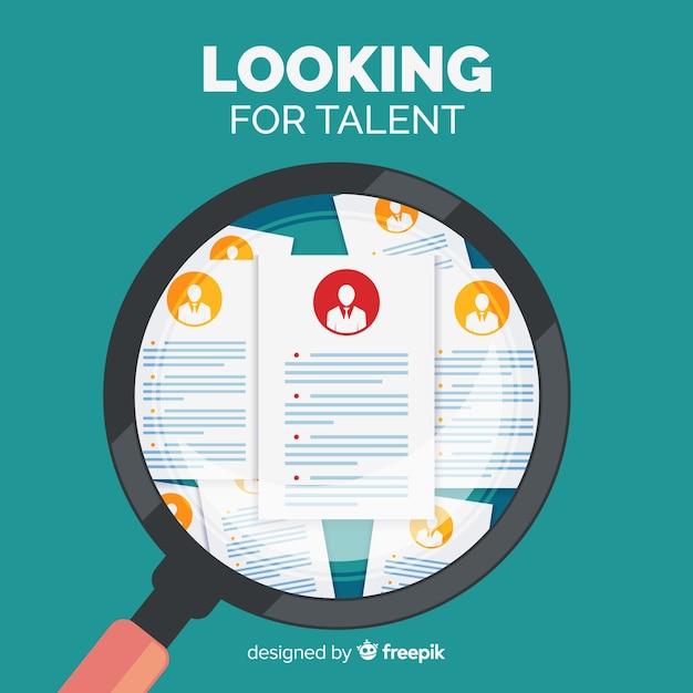 Lente d'ingrandimento alla ricerca di talento sfondo Vettore gratuito