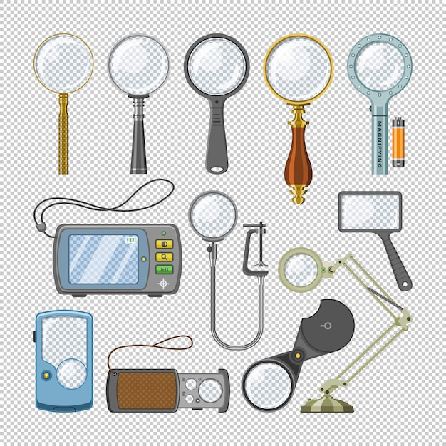 Magnifying glass  magnification zoom and magnify research lens illustration set of magnified scientific exploration search sign  on transparent background Premium Vector