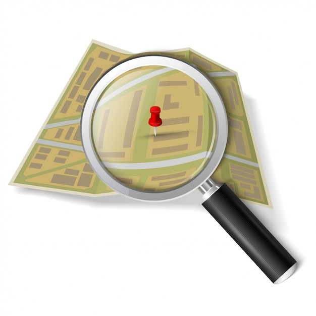 Magnifying glass over the map Premium Vector