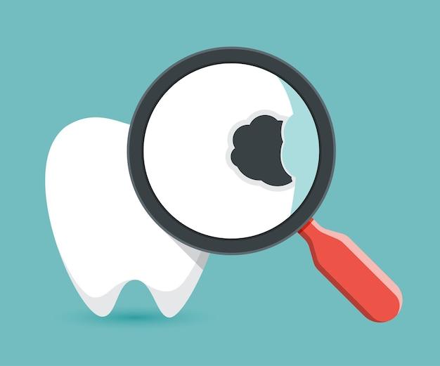 虫歯の上の虫眼鏡、歯のチェック。 Premiumベクター