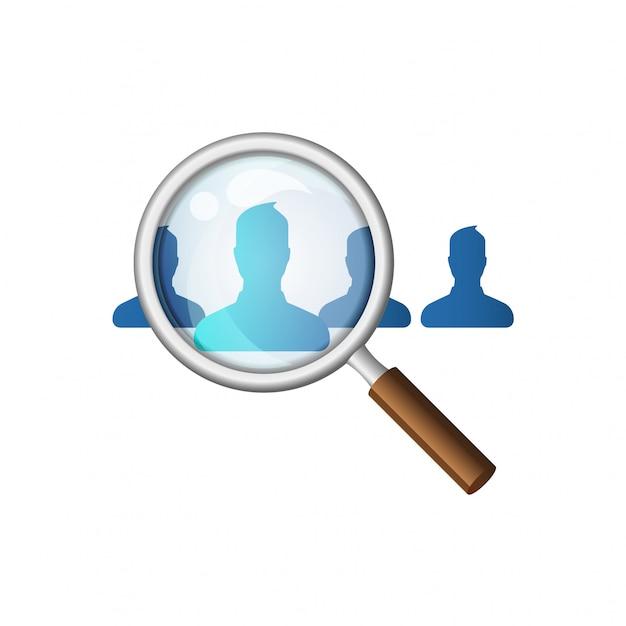 従業員の漫画を検索する虫眼鏡。スタイルのイラストを採用する人材。ヘッドハンティングと人材 Premiumベクター