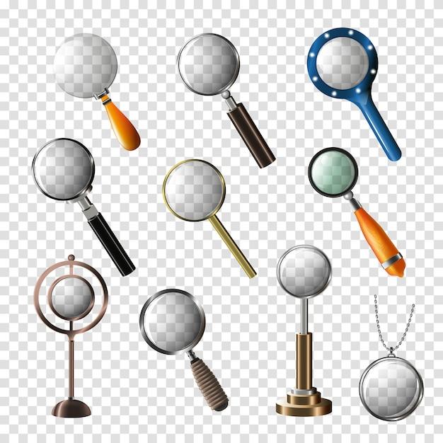 虫眼鏡ベクトル拡大ズームまたは研究レンズイラストセットを検索および拡大 Premiumベクター