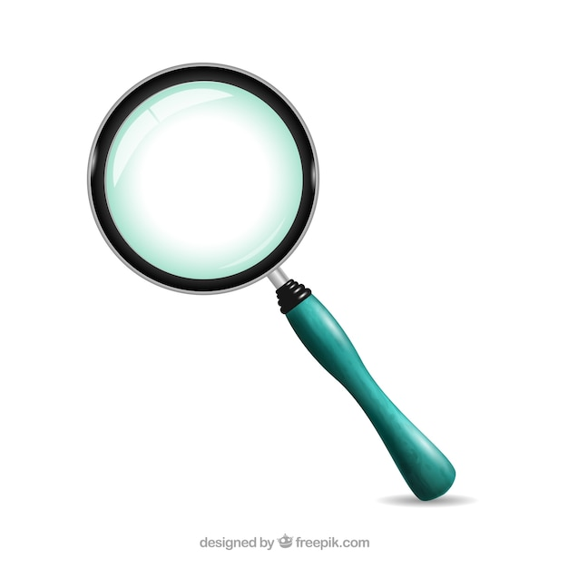 Magnifying glass with blue handle Free Vector
