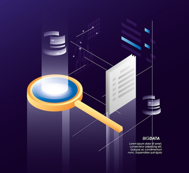 Magnifying glass with data center icons Premium Vector