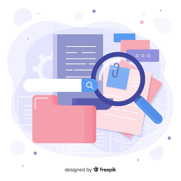 Magnifying glass with file searching Free Vector