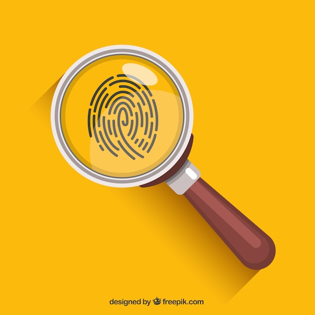 Magnifying glass with fingerprint in flat style Free Vector