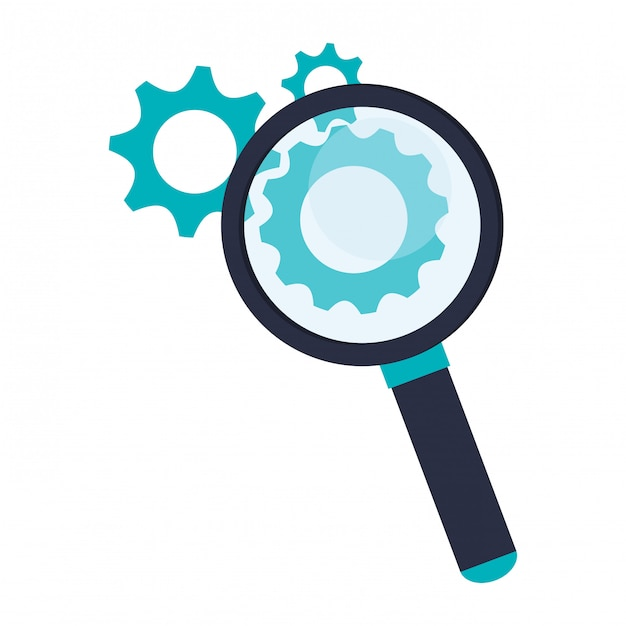 Magnifying glass with gears symbol Premium Vector