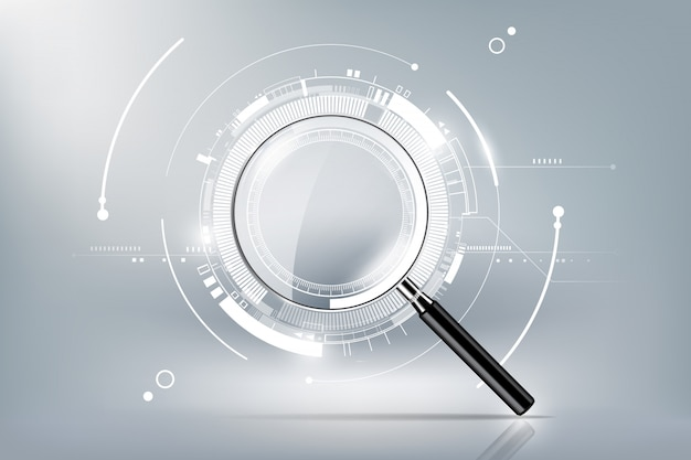 Magnifying glass with scan search concept and futuristic electronic technology background, transparent  illustration Premium Vector