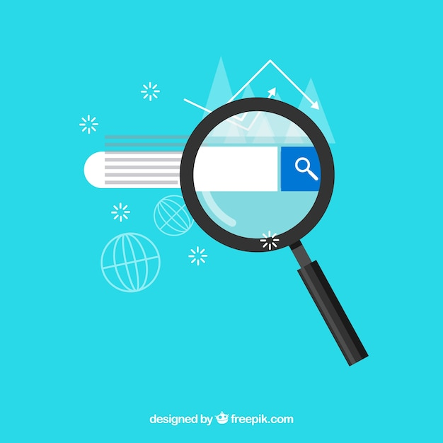 Magnifying glass with searcher in flat style Free Vector