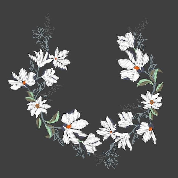 Magnolia embroidery illustration Premium Vector