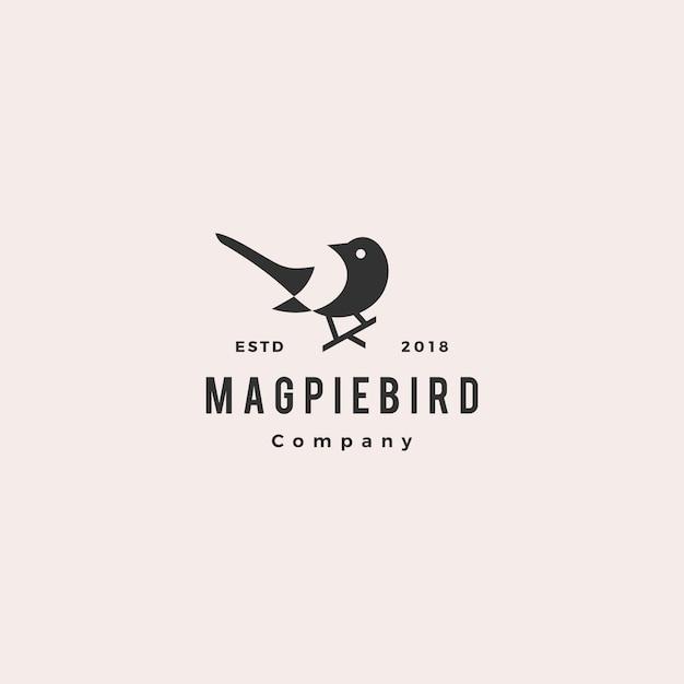 カササギ鳥ロゴヒップスターレトロ Premiumベクター